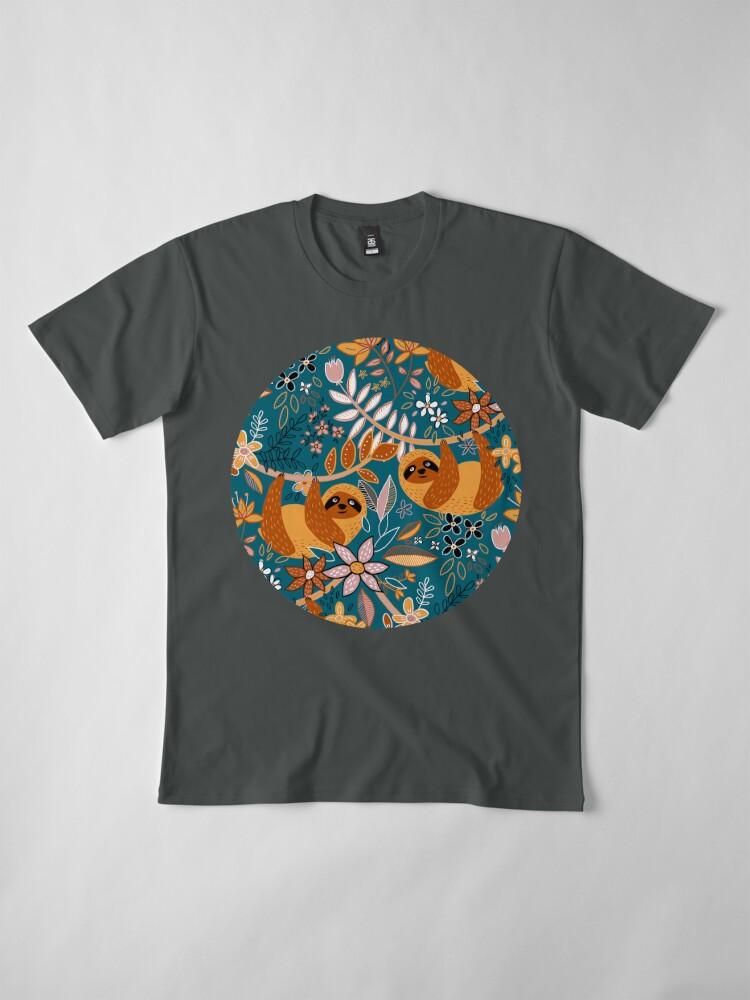 Alternate view of Happy Boho Sloth Floral  Premium T-Shirt