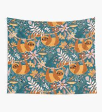 Happy Boho Sloth Floral  Wall Tapestry