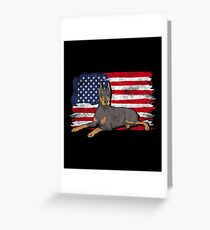 Doberman Pinscher Dog USA American Flag Greeting Card