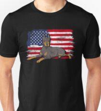 Doberman Pinscher Dog USA American Flag Unisex T-Shirt