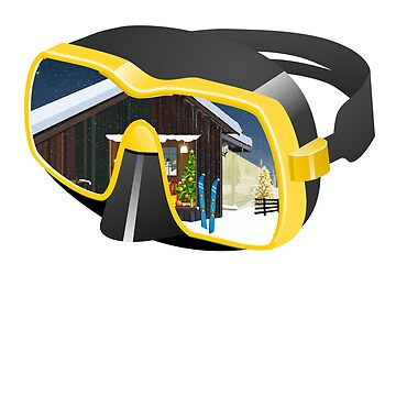 Ski Goggles With Chalet and Skis and Snow and Mountain Scene Beautiful Nature Scenery by jimwest001