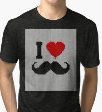I Love Mustache in Knitting Motif Style Tri-blend T-Shirt
