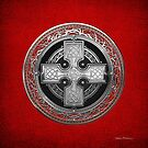 Ancient Celtic Sacred Silver Knot Cross over Red Leather by Serge Averbukh
