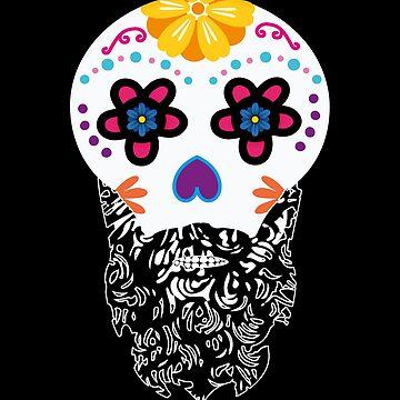 Day Of The Dead Shirt Bearded Sugar Skull Halloween Costume Skull Skull Design Gift Idea by MrTStyle
