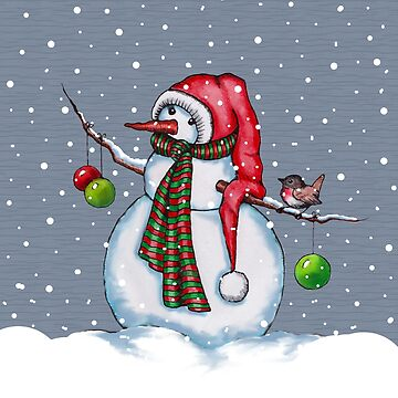SNOWMAN: Illustration, Red Hat & Toque, Falling Snow, Christmas by Joyce