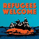 REFUGEES WELCOME - COLOURFUL ILLUSTRATION SHOWING REFUGEES ON A SMALL BOAT by Clifford Hayes