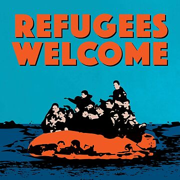 REFUGEES WELCOME - COLOURFUL ILLUSTRATION SHOWING REFUGEES ON A SMALL BOAT by CliffordHayes