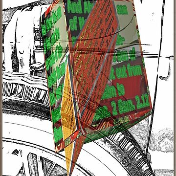 Antique car spare tire as a sketch with 3D text boxes by KFRose