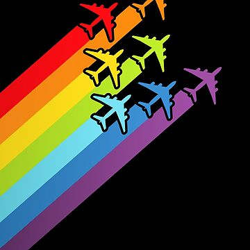 Rainbow Color Jetstreams! Airplane Lover Gift by MikeMcGreg
