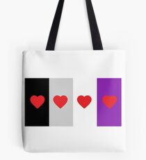 HETEROROMANTIC LOVE HEARTS ASEXUAL FLAG ASEXUAL T-SHIRT Tote Bag