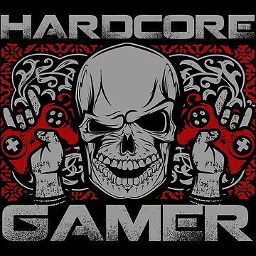 Hardcore Gamer Skull and Metal Horns Gift Ideas by throwbackgamer