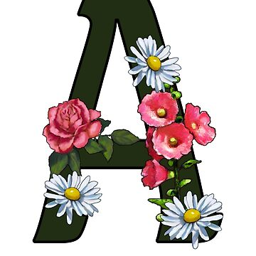 A, Letter A, Alphabet, Monogram, Initial, With Pink Flowers by Joyce