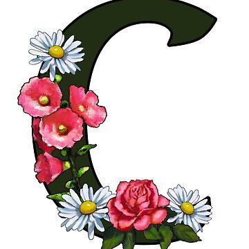 C, LETTER C, Initial, Monogram, Name Letter, Flowers by Joyce