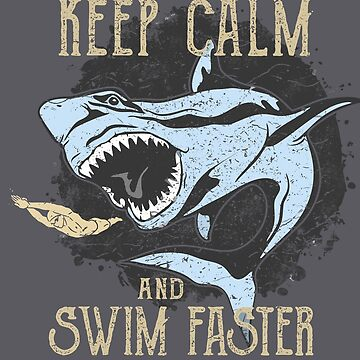 Swim Faster Shark Attack Sea Ocean Beach Swimmer by MDAM