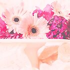 Pink Gerbera Daisies on Cake Stand by gingerfancy