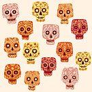Dia de los Muertos Mexican Decorated Skull Art by Nic Squirrell