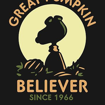 The Great Pumpkin Believer 1966 Silhouette Dog Parody Sunset Pumpkin Patch  by DesIndie