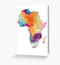 Africa map 7 watercolor Greeting Card
