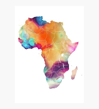 Africa map 7 watercolor Photographic Print
