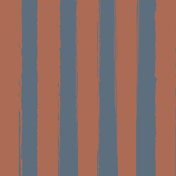 Rustic Brushed Stripes Blue-Grey-Clay-Russet by broadmeadow