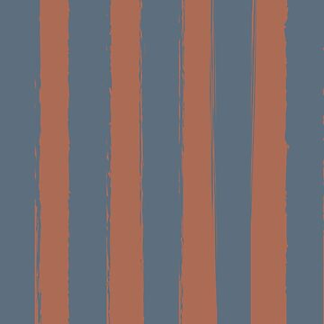 Rustic Brushed Stripes Clay-Russet-Blue by broadmeadow