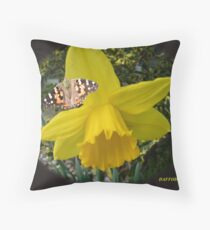 daffodil and butterfly Throw Pillow
