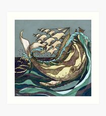 Leviathan Strikes - Whale, Sea and Sailing Ship Art Print