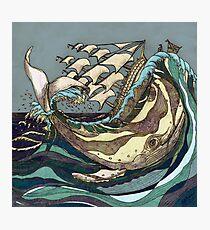 Leviathan Strikes - Whale, Sea and Sailing Ship Photographic Print