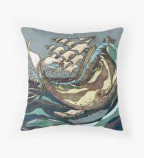 Leviathan Strikes - Whale, Sea and Sailing Ship Throw Pillow