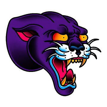 Toned Panther Head Sticker by salty-dog