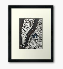Snow Covered Bird House Framed Print