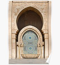 Fountain at Hassan II Mosque, Casablanca Poster