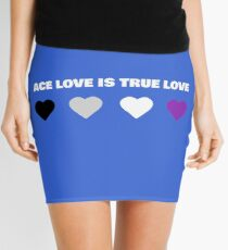 ASEXUAL HEARTS ACE LOVE IS TRUE LOVE ASEXUAL T-SHIRT Mini Skirt