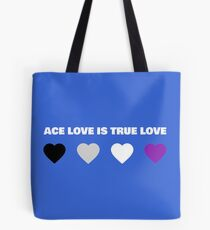 ASEXUAL HEARTS ACE LOVE IS TRUE LOVE ASEXUAL T-SHIRT Tote Bag