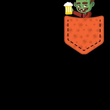Halloween Monster With Beer In Pocket Funny Halloween T-Shirt by davdmark