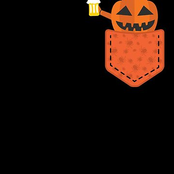 Halloween Pumpkin With Beer In Pocket Funny Halloween T-Shirt by davdmark