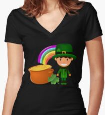 St. Patricks Day Pot Of Gold Women's Fitted V-Neck T-Shirt