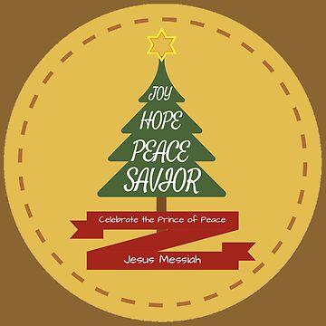 Christmas joy, love, peace, savior in natural brown by Sha-R