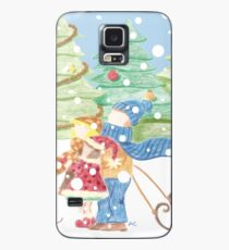 Kids in the Snow Retro Vintage Drawing Case/Skin for Samsung Galaxy