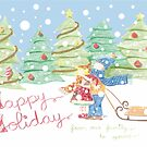 Kids in the Snow Retro Vintage Holiday Card by iCraftCafe