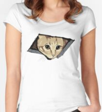 Ceiling Cat Watches You, LOLCat Favorite Women's Fitted Scoop T-Shirt