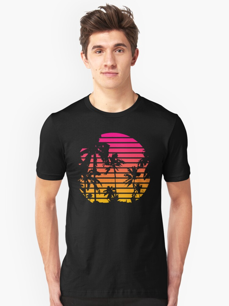 Cool 80s Style Tropical Sunset Unisex T-Shirt Front