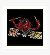 """Animal"" The Crazy Drummer of the Muppet Show Art Print"