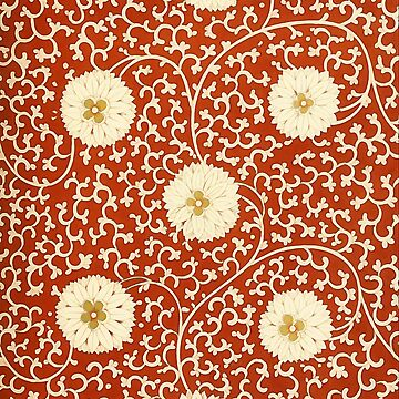 Chinese  Floral pattern in cream and red by almawad