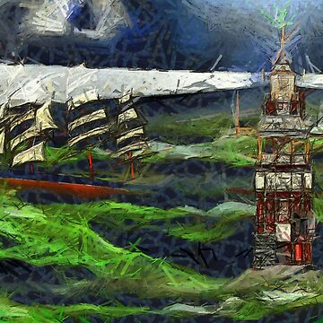 A felt tip digital painting of a Lighthouse and a Clipper Ship in a Stormy Sea 17th century by ZipaC