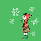 Red Riding Hood and snowflakes by Sally Barnett
