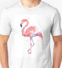 Camiseta ajustada Pink Flamingo Watercolor Illustration