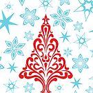 Retro Tree and Snowflakes by Ryan McGurl