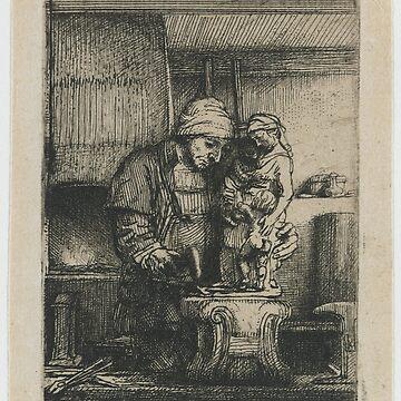 Drawing - De goudsmid, Rembrandt Harmensz. van Rijn, 1655  by wetdryvac