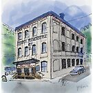 Travel Sketch of Architecture by Judy Boyle